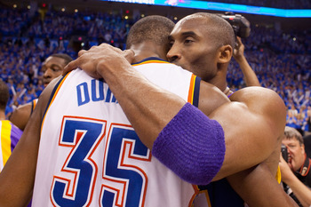 OKLAHOMA CITY - APRIL 30: Kobe Bryant #24 of the Los Angeles Lakers hugs Kevin Durant #35 of the Oklahoma City Thunder after after the Lakers won Game Six of the Western Conference Quarterfinals of the 2010 NBA Playoffs on April 30, 2010 at the Ford Cente