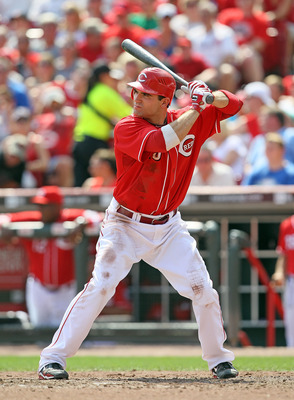 CINCINNATI - AUGUST 29:  Joey Votto #19 of the Cincinnati Reds is at bat during the game against the Chicago Cubs at Great American Ball Park on August 29, 2010 in Cincinnati, Ohio.  (Photo by Andy Lyons/Getty Images)