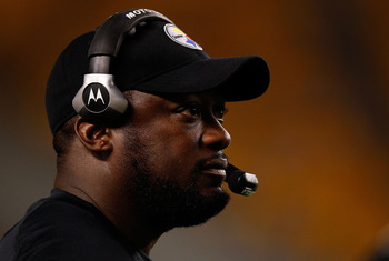Mike Tomlin looks on during Pittsburg's last preseason tune-up against the Carolina Panthers