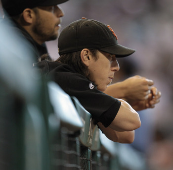 HOUSTON - JUNE 24:  Pitcher Tim Lincecum of the San Francisco Giants looks on from the dugout during a game against the Houston Astros at Minute Maid Park on June 24, 2010 in Houston, Texas.  (Photo by Bob Levey/Getty Images)