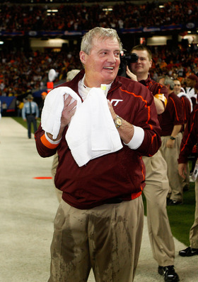 ATLANTA - DECEMBER 31:  Head coach Frank Beamer of the Virginia Tech Hokies dries himself after being dunked with sports drink during the Chick-Fil-A Bowl against the Tennessee Volunteers at the Georgia Dome on December 31, 2009 in Atlanta, Georgia.  The
