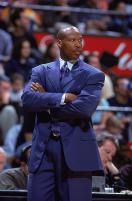 10 Nov 2001:   Head Coach Byron Scott of the New Jersey Nets looks on against the Cleveland Cavaliers during the NBA game at the Continental Airlines Arena in East Rutherford, New Jersey.  The Nets edged the Cavaliers 87-84.  Mandatory Credit:  Al Bello/G