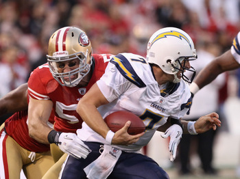 SAN FRANCISCO - SEPTEMBER 02:  Billy Volek #7 of the San Diego Chargers is sacked by Matt Wilhelm #57 of the San Francisco 49ers at Candlestick Park  on September 2, 2010 in San Francisco, California.  (Photo by Ezra Shaw/Getty Images)
