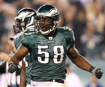 PHILADELPHIA - NOVEMBER 08:  Trent Cole #58 of the Philadelphia Eagles celebrates after he sacked Tony Romo #9 of the Dallas Cowboys in the third quarter at Lincoln Financial Field on November 8, 2009 in Philadelphia, Pennsylvania.  (Photo by Al Bello/Get