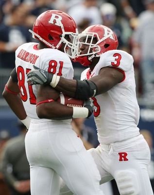 EAST HARTFORD, CT - OCTOBER 31:  Mark Harrison #81 of the Rutgers Scarlet Knights celebrates his touchdown with teammate Shamar Graves #3 in the second half against the Connecticut Huskies on October 31, 2009 at Rentschler Field in East Hartford, Connecti