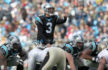 CHARLOTTE, NC - JANUARY 03:  Quarterback Matt Moore #3 of the Carolina Panthers calls the play during the game against the New Orleans Saints at Bank of America Stadium on January 3, 2010 in Charlotte, North Carolina.  (Photo by Streeter Lecka/Getty Image