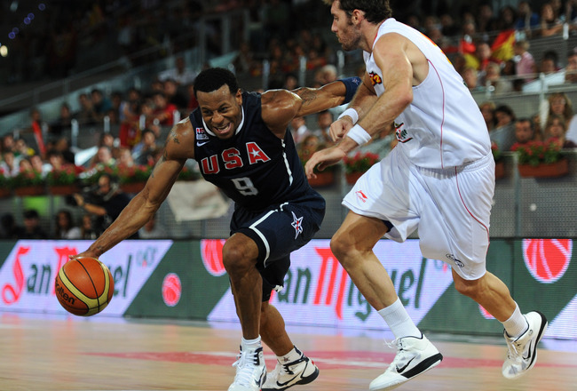 MADRID, SPAIN - AUGUST 22:  Andre Iguodala (L) of the USA drives past Rudy Fernandez of Spain during a friendly basketball game between Spain and the USA at La Caja Magica on August 22, 2010 in Madrid, Spain.  (Photo by Jasper Juinen/Getty Images)