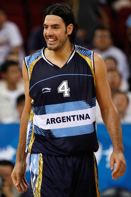 BEIJING - AUGUST 24:  Luis Alberto Scola #4 of Argentina smiles during the bronze medal game against Lithuania during Day 16 of the Beijing 2008 Olympic Games at the Beijing Olympic Basketball Gymnasium on August 24, 2008 in Beijing, China.  (Photo by Har