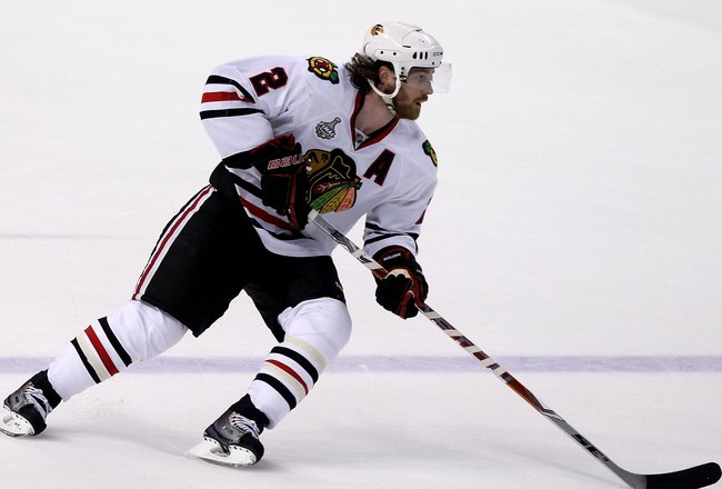 PHILADELPHIA - JUNE 04:  Duncan Keith #2 of the Chicago Blackhawks skates in Game Four of the 2010 NHL Stanley Cup Final against the Philadelphia Flyers at Wachovia Center on June 4, 2010 in Philadelphia, Pennsylvania.  (Photo by Andre Ringuette/Getty Ima