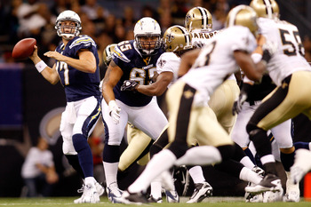 NEW ORLEANS - AUGUST 27:  Philip Rivers #17 of the San Diego Chargers in action against the New Orleans Saints at the Louisiana Superdome on August 27, 2010 in New Orleans, Louisiana.  (Photo by Chris Graythen/Getty Images)