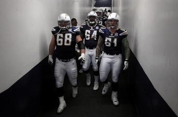 SAN DIEGO, CA - JANUARY 3:  Kris Dielman #68, Dennis Norman #64, and Nick Hardwick #61 of the San Diego Chargers enter the field against the Washington Redskins during the Washington Redskins  v San Diego Chargers NFL Game on January 3, 2010 at Quolcomm S