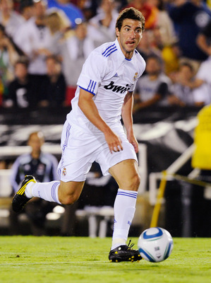 PASADENA, CA - AUGUST 07:  Gonzalo Higuain #20 of Real Madrid during the pre-season friendly soccer match against Los Angeles Galaxy on August 7, 2010 at the Rose Bowl in Pasadena, California. Real Madrid will travel back to Spain after the soccer match c