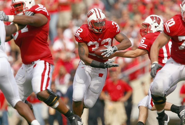 MADISON, WI - SEPTEMBER 26: John Clay #32 of the Wisconsin Badgers carries the ball during the game against  the Michigan State Spartans on September 26, 2009 at Camp Randall Stadium in Madison, Wisconsin. Wisconsin defeated Michigan State 38-30. (Photo b