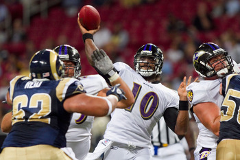 ST. LOUIS - SEPTEMBER 2: Troy Smith #10 of the Baltimore Ravens passes against the St. Louis Rams during an NFL preseason game at the Edward Jones Dome on September 2, 2010 in St. Louis, Missouri.  The Rams beat the Ravens 27-21.  (Photo by Dilip Vishwana