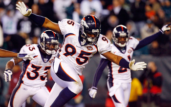 PHILADELPHIA - DECEMBER 27:  Darrell Reid #95 of the Denver Broncos celebrates after his team recovered a fumble against the Philadelphia Eagles on December 27, 2009 at Lincoln Financial Field in Philadelphia, Pennsylvania. The Eagles defeated the Broncos