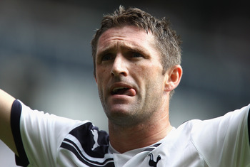 LONDON, ENGLAND - AUGUST 07:  Robbie Keane of Tottenham Hotspur celebrates scoring his first goal during the pre-season friendly match between Tottenham Hotspur and Fiorentina at White Hart Lane on August 7, 2010 in London, England.  (Photo by Paul Gilham