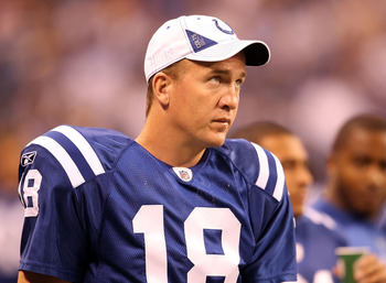 INDIANAPOLIS - SEPTEMBER 02:  Peyton Manning #18 of the Indianapolis Colts watches from the sidelines during the NFL preseason game against the Cincinnati Bengals at Lucas Oil Stadium on September 2, 2010 in Indianapolis, Indiana.  (Photo by Andy Lyons/Ge