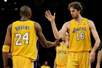 Kobe Bryant, Pau Gasol, and Derek Fisher
