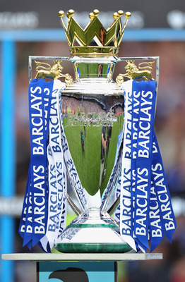 LONDON, ENGLAND - MAY 09:  A view of the Premier League trophy after the Barclays Premier League match between Chelsea and Wigan Athletic at Stamford Bridge on May 9, 2010 in London, England. Chelsea won 8-0 to win the championship.  (Photo by Clive Mason