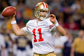 ST. LOUIS - JANUARY 3: Alex Smith #11 of the San Francisco 49ers looks to pass against the St. Louis Rams at the Edward Jones Dome on January 3, 2010 in St. Louis, Missouri.  (Photo by Dilip Vishwanat/Getty Images)