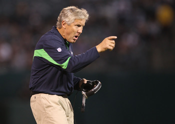 OAKLAND, CA - SEPTEMBER 02:  Head coach Pete Carroll of the Seattle Seahawks looks on against the Oakland Raiders during an NFL preseason game at Oakland-Alameda County Coliseum on September 2, 2010 in Oakland, California.  (Photo by Jed Jacobsohn/Getty I