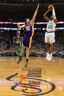 BOSTON - JUNE 10:  Ray Allen #20 of the Boston Celltics attempts a shot against Pau Gasol #16 of the Los Angeles Lakers during Game Four of the 2010 NBA Finals on June 10, 2010 at TD Garden in Boston, Massachusetts. NOTE TO USER: User expressly acknowledg