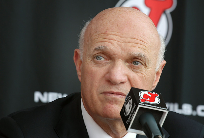 NEWARK, NJ - JUNE 17: CEO/ President/  General Manager Lou Lamoriello of the New Jersey Devils address the media after introducing John MacLean as the Devils new head coach during a press conference at the Prudential Center on June 17, 2010 in Newark, New