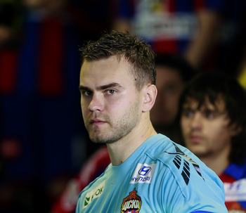 KHIMKI, RUSSIA - MAY 02: Igor Akinfeev of PFC CSKA Moscow looks on during the Russian Football League Championship match between PFC CSKA Moscow and FC Tom Tomsk at the Khimki Stadium on May 02, 2010 in Khimki, Russia.  (Photo by Dmitry Korotayev/Epsilon/