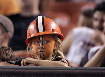 CLEVELAND - SEPTEMBER 2:  A young Cleveland Browns fan looks on during the preseason game against the Chicago Bears on September 2, 2010 at Cleveland Browns Stadium in Cleveland, Ohio. The Browns defeated the Bears 13-10.  (Photo by Justin K. Aller/Getty