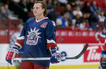 6 Dec 1997:  Adam Graves #9 of the New York Rangers during the Rangers 3-3 tie with the Montreal Canadiens at the Molson Center in Montreal, Canada. Mandatory Credit: Robert Laberge  /Allsport