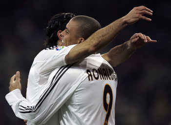 MADRID, SPAIN - NOVEMBER 14:  Real Madrid?s  Ronaldo celebrates with Luis Figo after scoring a goal in a Primera Liga soccer match against Albacete on November 14, 2004 at the Bernabeu stadium in Madrid, Spain. (Photo by Denis Doyle/Getty Images)