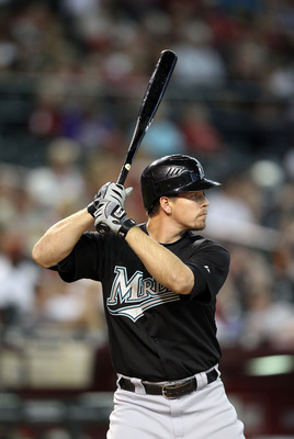 PHOENIX - JULY 11:  Donnie Murphy #22 of the Florida Marlins bats against the Arizona Diamondbacks during the Major League Baseball game at Chase Field on July 11, 2010 in Phoenix, Arizona.  The Marlins defeated the Diamondbacks 2-0.  (Photo by Christian