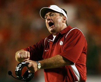 Sooner coach, Bob Stoops, expressed frustration after a close contest against lowly Utah State.