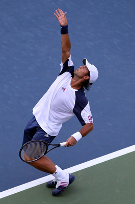 NEW YORK - AUGUST 31:  Fernando Verdasco of Spain serves against Fabio Fognini of Italy during his first round men's single's match on day two of the 2010 U.S. Open at the USTA Billie Jean King National Tennis Center on August 31, 2010 in the Flushing nei