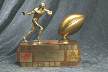The Cy Hawk Trophy will be kept or taken away this Saturday
