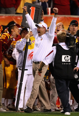 TEMPE, AZ - DECEMBER 31:  Head coach Paul Rhoads of the Iowa State Cyclones celebrates on the sidelines after defeating the Minnesota Golden Gophers in the Insight Bowl at Arizona Stadium on December 31, 2009 in Tempe, Arizona.  The Cyclones defeated the
