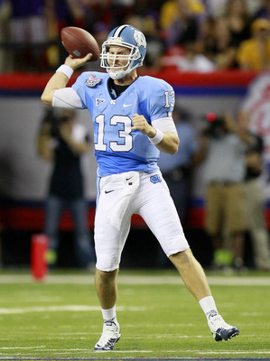 TJ Yates threw for 412 yards, more than double the average of the UNC 2009 season