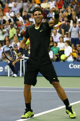 NEW YORK - SEPTEMBER 03:  Rafael Nadal of Spain celebrates defeating Denis Istomin of Uzbekistan (not pictured) during day five of the 2010 U.S. Open at the USTA Billie Jean King National Tennis Center on September 3, 2010 in the Flushing neighborhood of