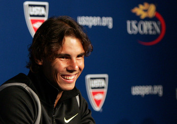NEW YORK - AUGUST 28:  Rafael Nadal of Spain smiles during a press conference held on Arthur Ashe Kids' Day prior to the start of the 2010 U.S. Open at the USTA Billie Jean King National Tennis Center on August 28, 2010 in the Flushing neighborhood of the