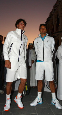 DOHA, QATAR - JANUARY 03:  Roger Federer of Switzerland and Rafael Nadal of Spain attend a photocall to Launch the ATP Qatar ExxonMobil Open at the Souq Waqif on January 3, 2010 in Doha, Qatar.  (Photo by Ian Walton/Getty Images)