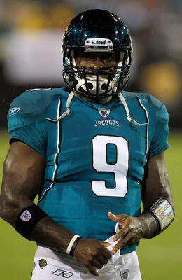 JACKSONVILLE, FL - AUGUST 21:  Quarterback David Garrard #9 of the Jacksonville Jaguars waits to take the field during the preseason game against the Miami Dolphins at EverBank Field on August 21, 2010 in Jacksonville, Florida.  (Photo by Sam Greenwood/Ge