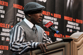 LAS VEGAS - NOVEMBER 14:  (L-R) Andre Berto speaks during a news conference at the Mandalay Bay Hotel & Casino on November 14, 2009 in Las Vegas, Nevada. Boxers Andre Berto and Shane Mosley announced today they will meet in the ring on January 30, 2010 at