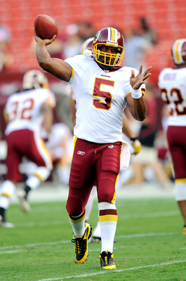 LANDOVER, MD - AUGUST 21:  Donovan McNabb #5 of the Washington Redskins warms up before the preseason game against the Baltimore Ravens at FedExField on August 21, 2010 in Landover, Maryland.  (Photo by Greg Fiume/Getty Images)