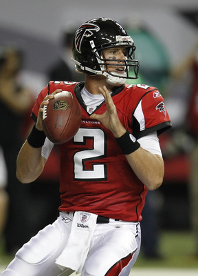 ATLANTA - AUGUST 19:  Quarterback Matt Ryan #2 of the Atlanta Falcons drops back to pass during the preseason game against the New England Patriots at the Georgia Dome on August 19, 2010 in Atlanta, Georgia.  (Photo by Mike Zarrilli/Getty Images)