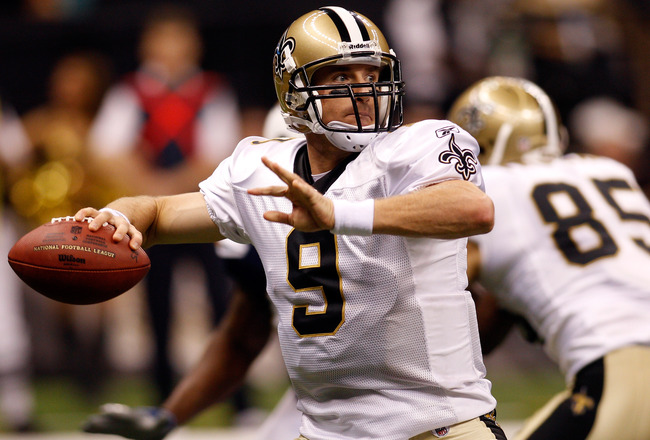 NEW ORLEANS - AUGUST 27:  Drew Brees #9 of the New Orleans Saints in action against the San Diego Chargers at the Louisiana Superdome on August 27, 2010 in New Orleans, Louisiana.  (Photo by Chris Graythen/Getty Images)