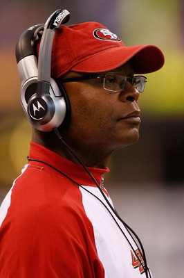 INDIANAPOLIS, IN - AUGUST 15: Mike Singletary of the San Francisco 49ers looks on during the preseason game against the Indianapolis Colts at Lucas Oil Stadium on August 15, 2010 in Indianapolis, Indiana.  (Photo by Scott Boehm/Getty Images)