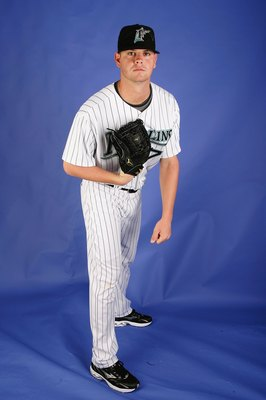 JUPITER, FL - FEBRUARY 22:  Sean West #79 of the Florida Marlins poses during photo day at Roger Dean Stadium on February 22, 2009 in Jupiter, Florida.  (Photo by Doug Benc/Getty Images)