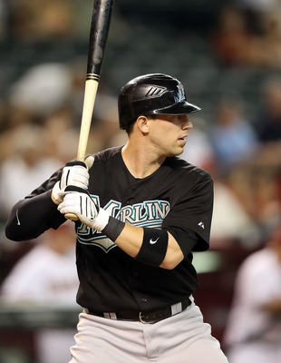 PHOENIX - JULY 08:  Brett Hayes #9 of the Florida Marlins bats against the Arizona Diamondbacks during the Major League Baseball game at Chase Field on July 8, 2010 in Phoenix, Arizona. The Diamondbacks defeated the Marlins 10-4.  (Photo by Christian Pete