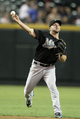 PHOENIX - JULY 08:  Infielder Dan Uggla #6 of the Florida Marlins in action during the Major League Baseball game against the Arizona Diamondbacks at Chase Field on July 8, 2010 in Phoenix, Arizona. The Diamondbacks defeated the Marlins 10-4.  (Photo by C