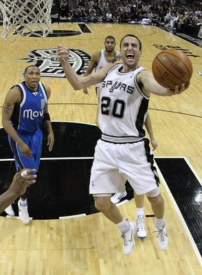 SAN ANTONIO - APRIL 23:  Guard Manu Ginobili #20 of the San Antonio Spurs in Game Three of the Western Conference Quarterfinals during the 2010 NBA Playoffs at AT&T Center on April 23, 2010 in San Antonio, Texas. NOTE TO USER: User expressly acknowledges